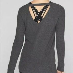 Athleta Ribbed Cashmere Blend Open Back Sweater L